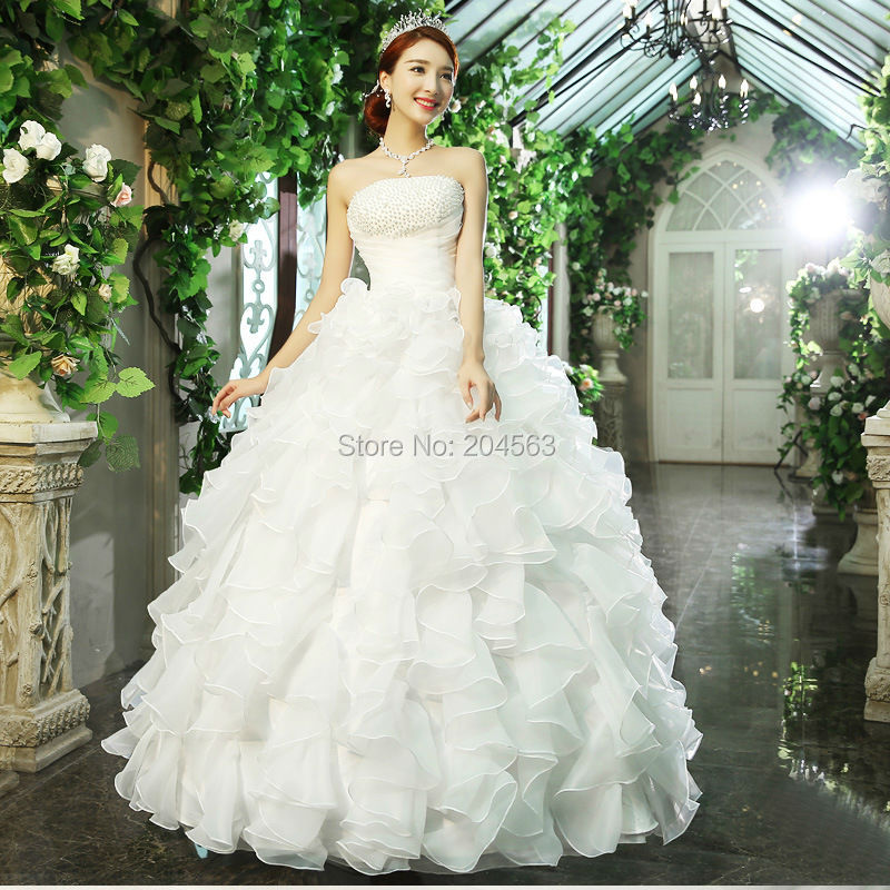 Cheap Wedding Dresses For Sale: Hot Sale Cheap Organza Beaded Wedding Dresses With Ruffle