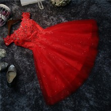 Real photos Bridesmaid dress short the new spring summer bride marriage gauze dress white Lace Up Sexy costumes prom red #HA5