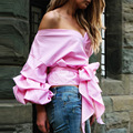 Uwback 2017 New Spring Fashion Shirts Women Sexy Open V-neck lantern Sleeve Shirts Blouse Women Summer Tops Bow CBB415