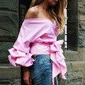 Uwback 2017 nueva primavera camisas de la manera atractiva de las mujeres abiertas de manga farol v-cuello camisas blusa de las mujeres tops de verano arco cbb415