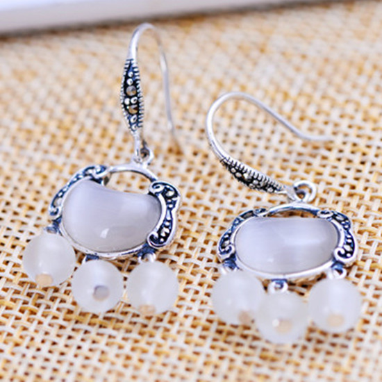 Thai Silver S925 Sterling Jewelry Retro Opal Marcasite Earrings Female Longevity Lock Pendant In From