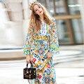 Para mujer de manga larga con cinturón casual hendidura estampado floral encantador largo maxi dress alta calidad cordón de división de manga larga con cuello en v vestidos