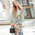 Womens Long Sleeve Belted Casual Slit Charming Floral Print Long Dress High Quality Maxi Long sleeve v-neck Lacing Split Dresses