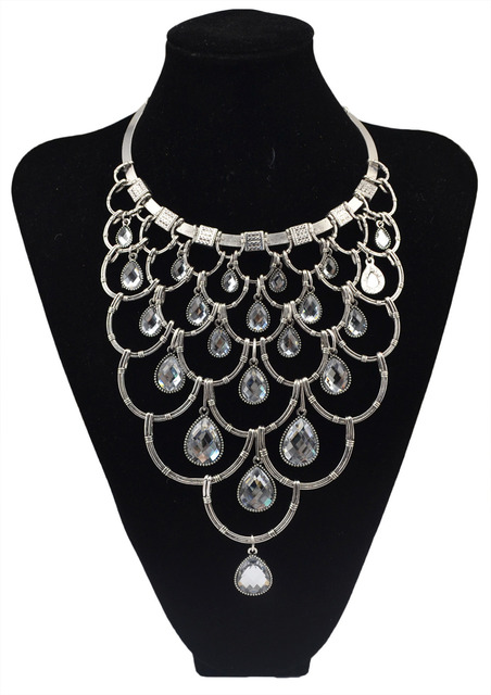 36ead9beb1c Boho crystal water-drop multi-layer long statement necklaces collier femme  vintage gold chain flower large necklaces & pendants