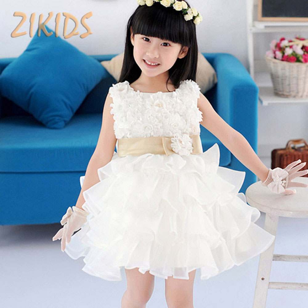 3-7Y Flowers Girl Dress Summer 2017 Wedding Party Cute Bow Belt Layered White & Red Dresses Kids Children Formal Clothes Costume 2 8y korea style cute bow belt sleeveless round collar assorted color performing dress layered dress girl evening dress