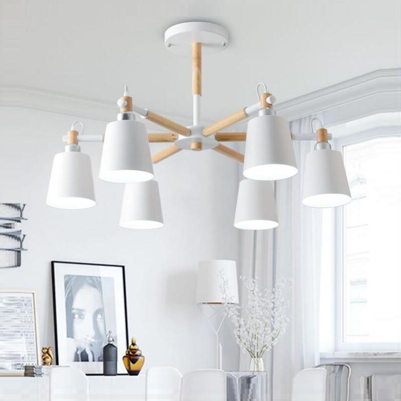 Lustre Solid Wood Chandelier For Living Room Iron Lampshade LED Chandelier Lighting Lustres Para Sala De