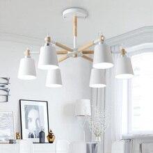 Lustre 솔리드 우드 샹들리에 거실 용 철 갓 LED 샹들리에 조명 Lustres Para Sala De Jantar Home Lamp Modern