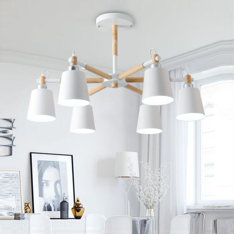 Lustre Solid Wood Chandelier For Living Room Iron Lampshade LED Chandelier Lighting Lustres Para Sala De Jantar Home Lamp Modern Chandeliers     - title=