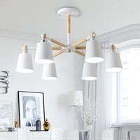 Lustre Solid Wood Chandelier For Living Room Iron Lampshade LED Chandelier Lighting Lustres Para Sala De Jantar Home Lamp Modern