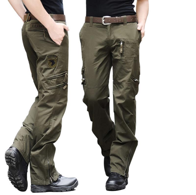 New Arrival Fashion Autumn-Summer Army Green Camouflage Pants Loose Large Size Jeans Baggy Cargo Pants For Men Free Shipping