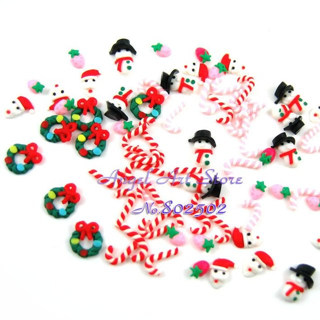 Free shipping wholesale 100pcs/lot mix Christmas(Xmas) 3d (polymer clay) nail sticker, Cellphone beauty sticker