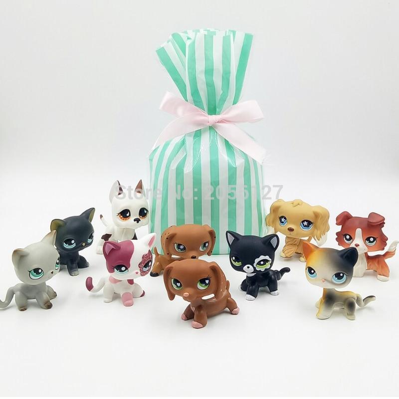 10 Pcs bag Real pet shop lps toys short hair cat rare dachshund collie spaniel great