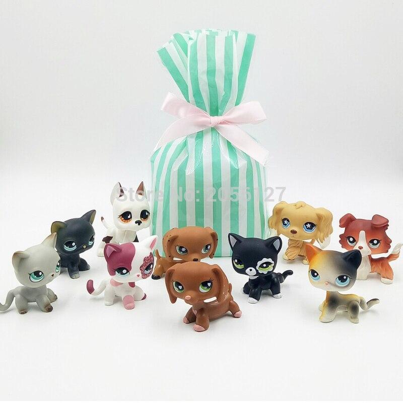 10 Pcs bag Real font b pet b font shop lps toys short hair cat rare