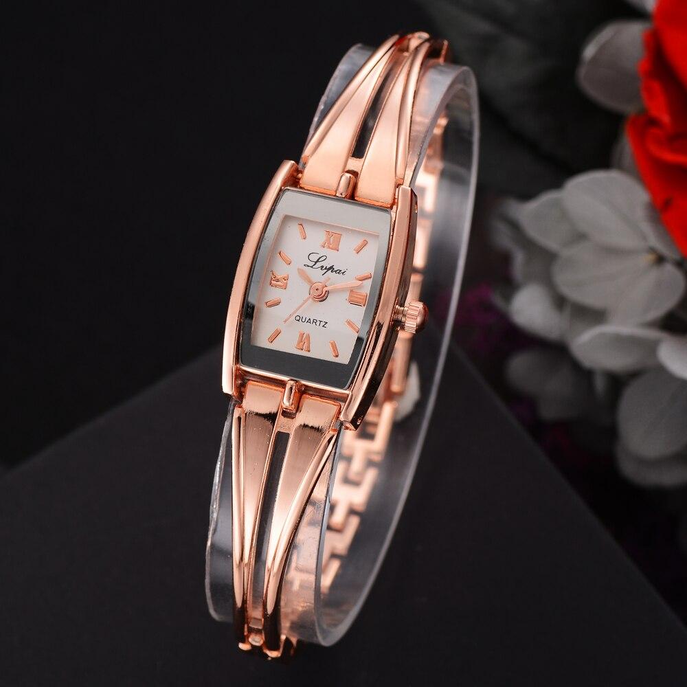 Lvpai марка розовое золото женское платье часы Творческий дамы браслет кварцевые наручные часы женские модные роскошные часы