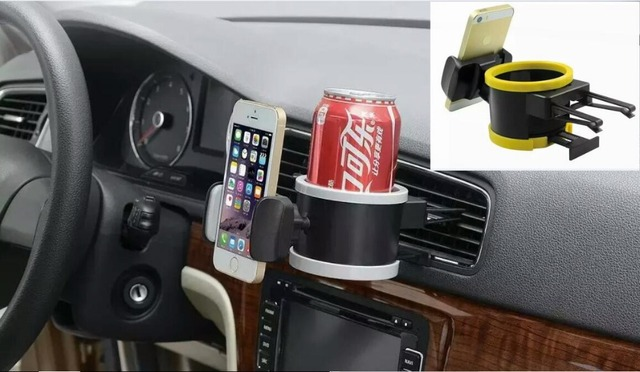 Universal 2 in one car air vent  Drinking Bottle can Coffee Cup Mount Holder with 360 degree rotable mobile phone holder stand,