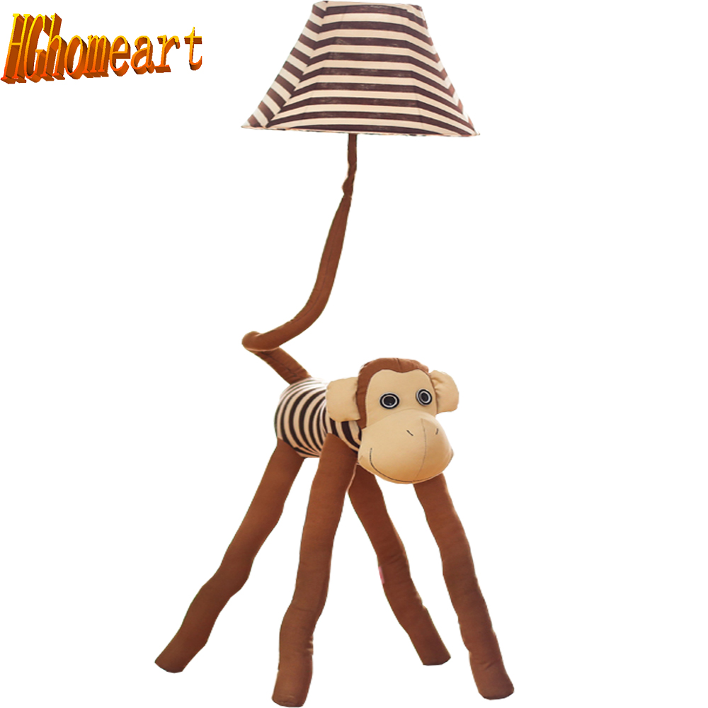 Hghomeart Led American Retro Floor Lamp E27 Black Iron Fabric Wiring A Top Children Room Cute Monkey Bulb Kids 110v 220v Lampshade