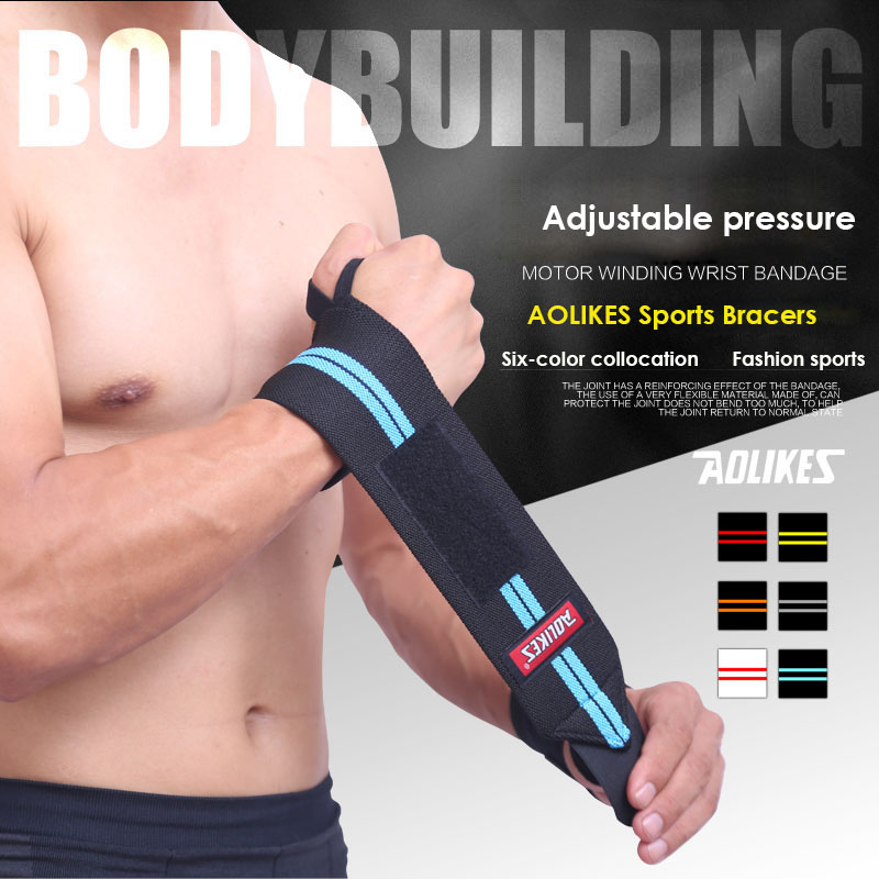 AOLIKES 1PCS Weightlifting Armband Sport Professionell Träning Handband Handledsstödremmar Wraps Guards For Gym Fitness