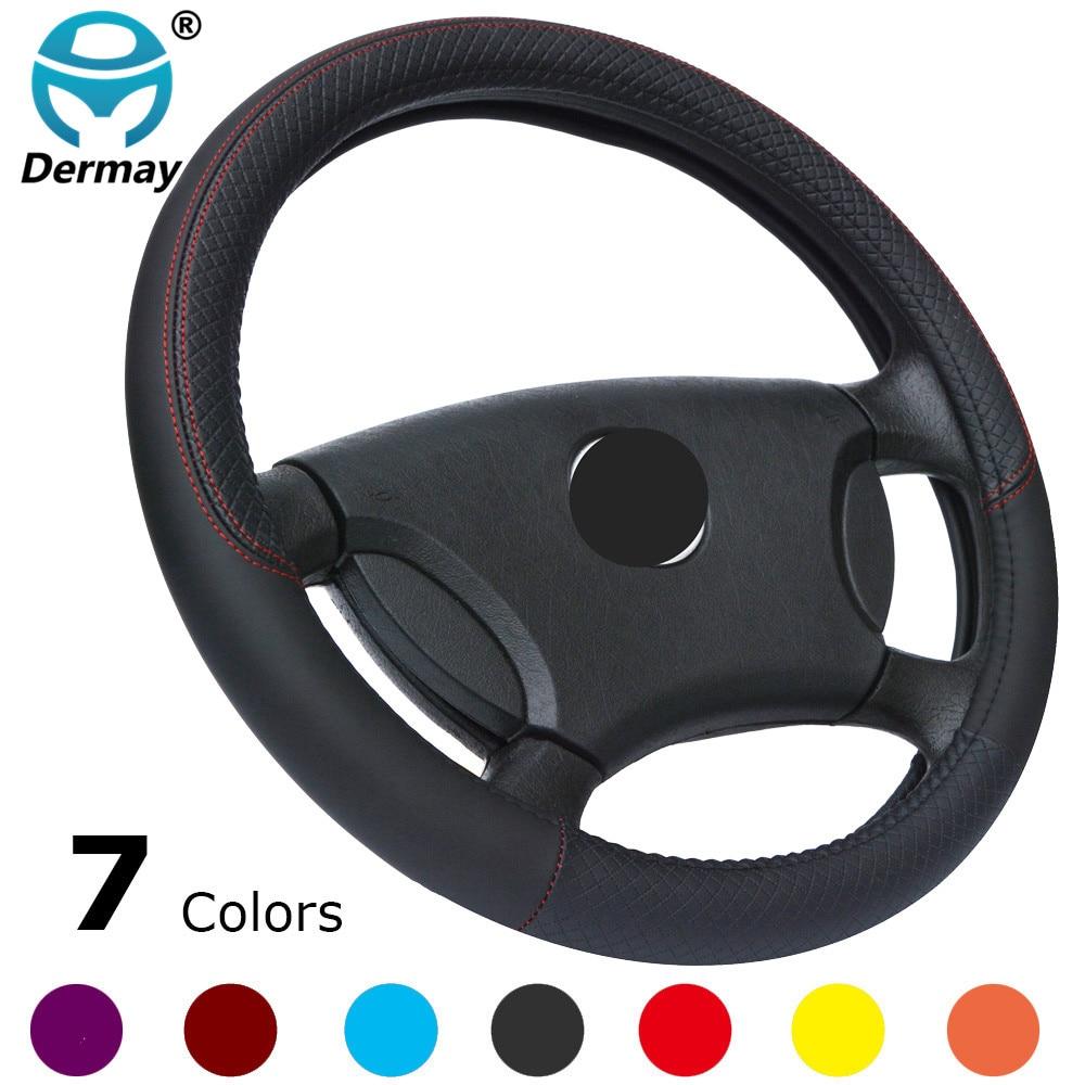 DERMAY Nueva llegada 7 colores Cubierta del volante del coche Tamaño del cuero 38 cm Para VW Skoda Chevrolet Ford Nissan, etc. 95% automóviles