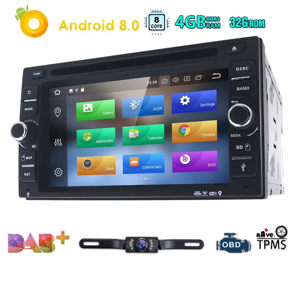 OctaCore Pure Android8.0 Auto Radio Car DVD Player Car PC Tablet Double 2din 6.2''GPS Navigation Head Unit Bluetooth SWC TV 4+32