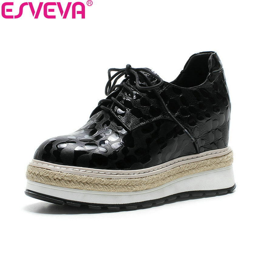 ESVEVA 2018 Women Pumps Cow Leather PU Casual High Heels Round Toe Lace Up Height Increasing Platform Ladies Shoes Size 34-42 big size high heels round toe women platform shoes cool casual white lace wedge black creepers medium pumps mesh chinese fashion