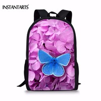 INSTANTARTS Purple Flower Butterfly Printing Woman's Backpacks Fashion Brand Design Lady Rucksacks Casual Travel Laptop Bagpacks