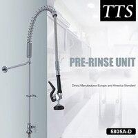 TTS смесители для кухни Серебряный двойной ручкой выдвижной кухонный кран с двумя отверстиями поворотная ручка 360 градусов смеситель для вод