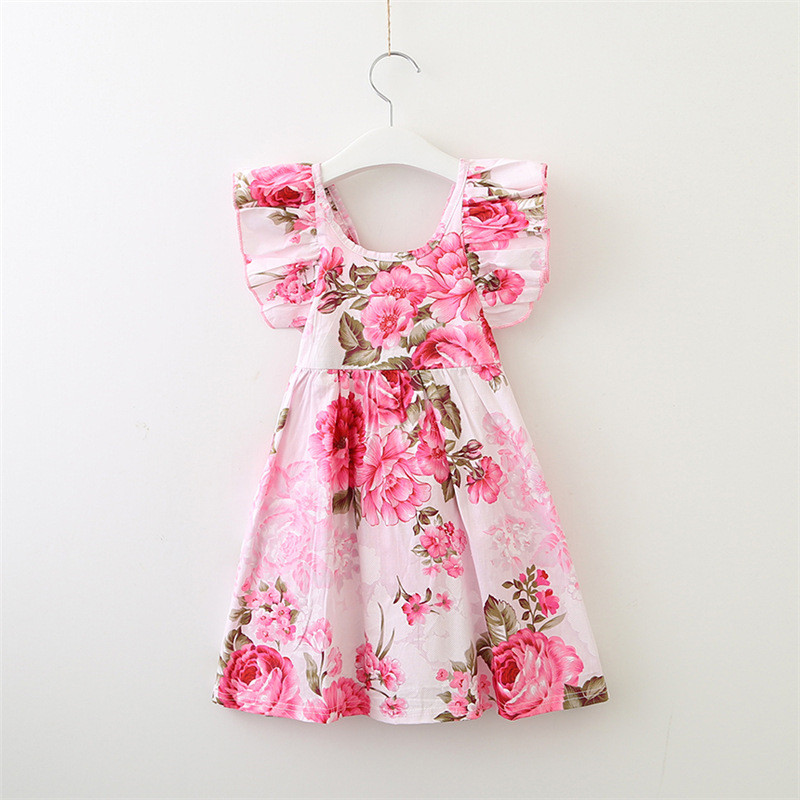 Summer Girls Clothes Ruffle Sleeve Floral Baby Girls Dress 2-7T Fashion Backless Floral Print Children Clothing Dresses