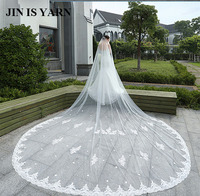 4 Meters White Ivory Cathedral Mantilla Wedding Veils Long Lace Edge Bridal Veil with Comb Wedding Accessories Bride