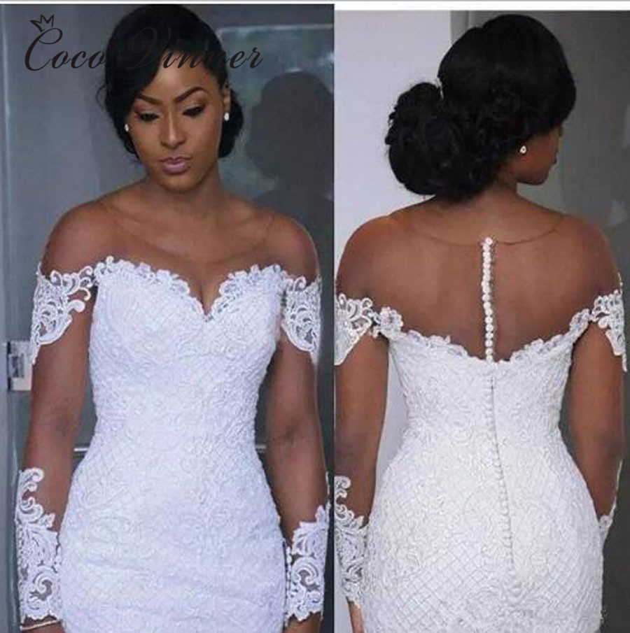 Short Cap Sleeve Mermaid Trumpet Wedding Dress 2019 Africa New Lace Appliques Beaded Button Back Plus