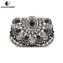 Marke Design Frauen Vintage Handgefertigte Perlen Kette Handtaschen Damen Diamanten Besetzte Tag Kupplung Acryl Solide Partei Abend BagsBS854