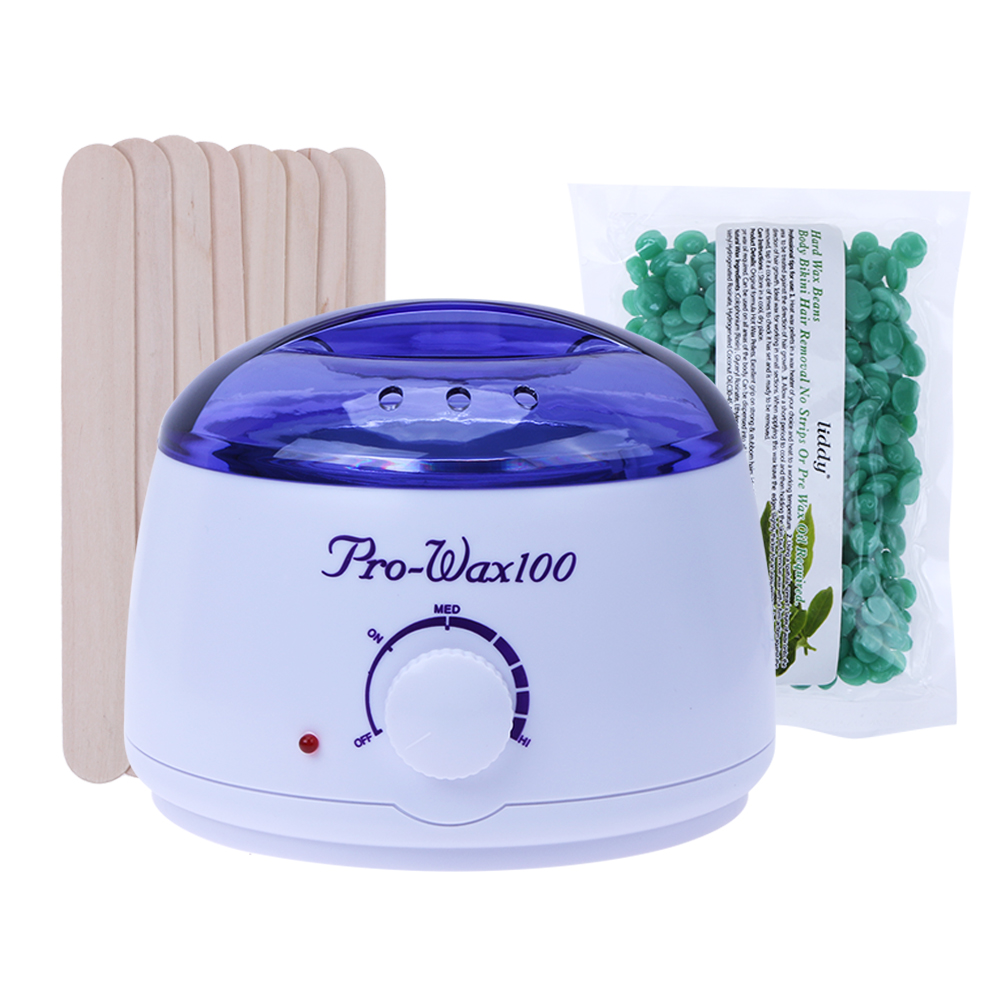 Wax Heater Machine Waxing Warmer 100g Wax Beans Hot Wax Heater 20pcs Stickers Hair Removal Sets US Plug Bikini Hair Removal