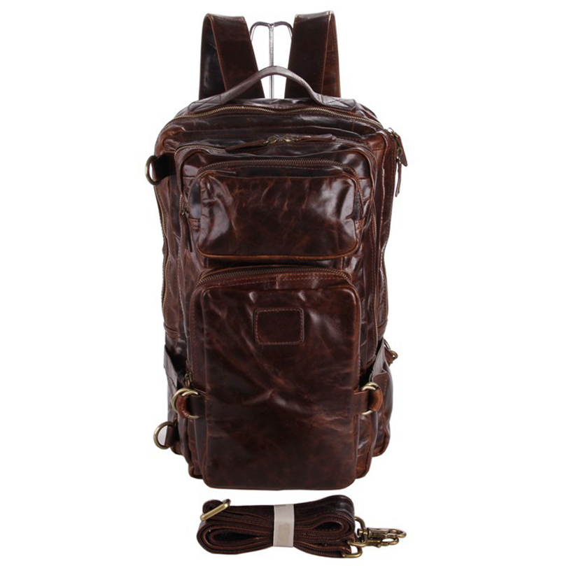 Multifunctional Genuine Leather Backpack Men Backpack Fashion Male School Backpack Travel Bag Large Leather Rucksack Big Brown Excellent Quality Luggage & Bags