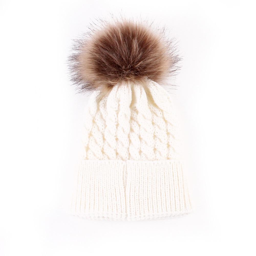 4729919c43fd 2017 Hot Newborn Cute Winter Kids Baby Hats Knitted Wool Hemming ...