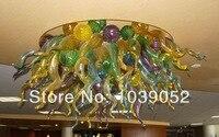 O Envio gratuito de Multi Colorido Modern Art Hand Blown Glass Chandelier Luz