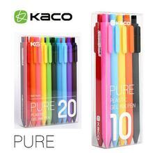 KACO гелевая ручка ярких цветов, 0,5 мм, многоцветные гелевые чернила, пресс-ручки, 10/20 шт, KACO, выдвижные гелевые ручки