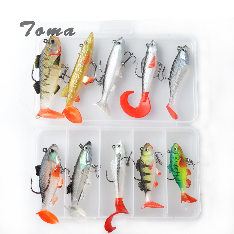 TOMA Soft Lure Kit set 18g 14g 13g 9g 8g Wobblers Artificial Bait Silicone Fishing Lures Sea Bass Carp Fishing Lead Fish Jig 1pc soft fishing lure 6 8cm 2 68 9 36g 0 33oz мягкая свинцовая приманка 8 high carbon hook 6 color silicon wobblers fishing sackle