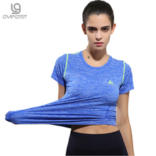 Ovesport Quick Dry Gym Yoga T-Shirt Tights Women's Sport Tees For Running Workout Fitness Short Sleeve Clothes Tops Female Shirt