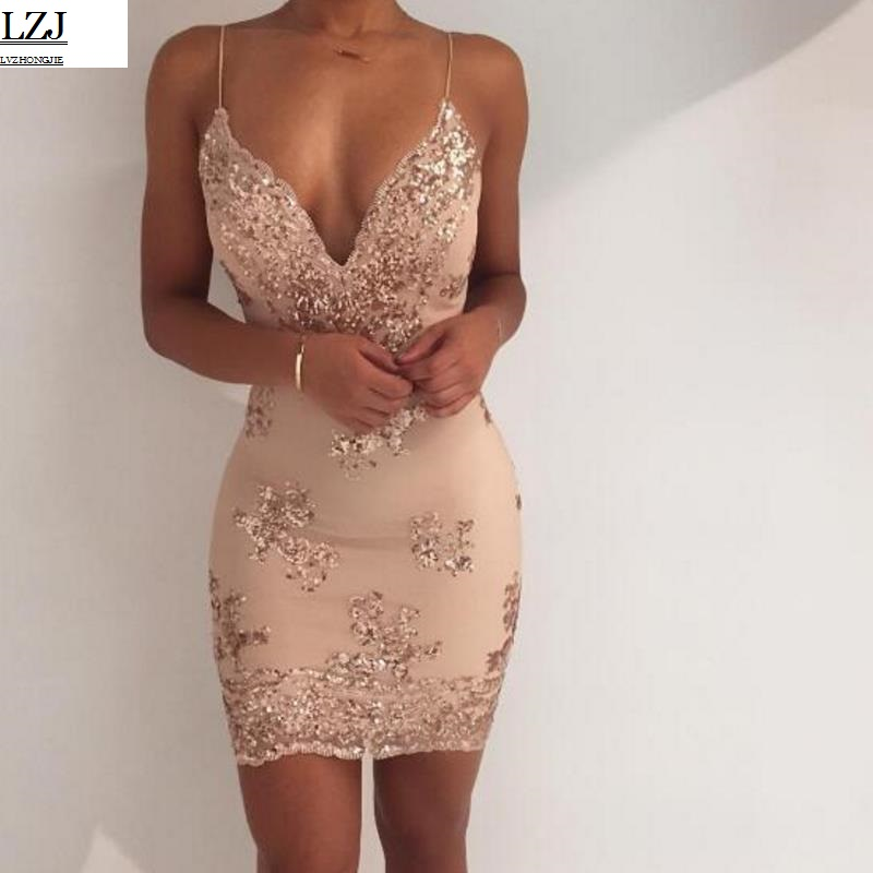 Mujeres Oro Negro lentejuelas vestido 2017 Nuevo Sexy v-cuello Backless mujeres Sundress lujo partido Club desgaste Mini vestido Sequined Vestidos