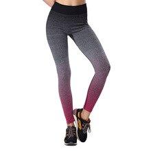 Women's Sport Capris Leggings Gradient Color Fitness Waist Elastic Workout Leggings Striped Pants Yoga Gym Running Leggings