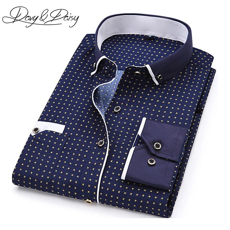 DAVYDAISY High Quality Men Shirt Spring Long Sleeve Turn-Down Collar Dress Polka Dot Print Casual Shirt Men Camisas DS-026
