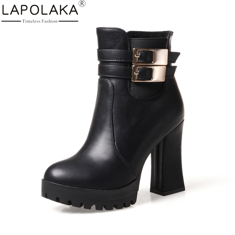 LAPOLAKA Hot Sale Plus Size 32-43 High Heels Women Shoes Woman Fashion Platform Buckles Black Party Winter Ankle Boots Add Fur hot sale open front geometry pattern batwing winter loose cloak coat poncho cape for women