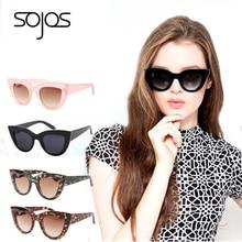 Sunglasses women Accessories CatEye Style 2017 Brand Designer Fashion Shades black plastic UA400 Sun Glasses oculos de sol SOJOS