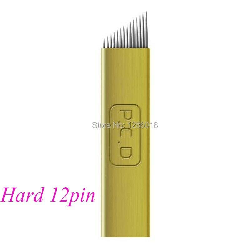 500 sztuk 12/14 pin złoty jednorazowe hafty microblade brwi do permanentnego makijażu instrukcja pióro w Igły do tatuażu od Uroda i zdrowie na  Grupa 2