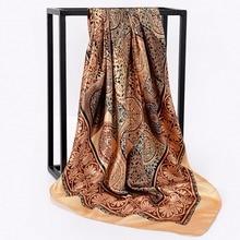 Ethnic Style vintage Porcelain Printed Satin Large Square Scarf For Women Ladies Travel Cape Head Wraps 90*90cm
