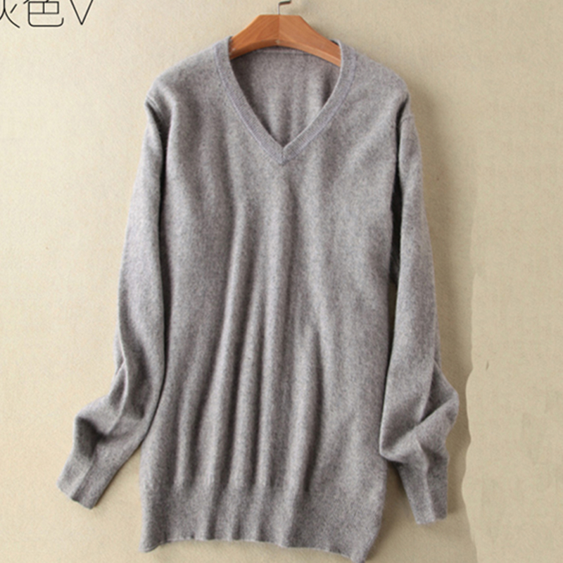 2019 Winter New Sale Men Standard Pullovers Long Sleeve V-neck Pure Color Mink Cashmere Sweater Men Formal Knitted Sweater