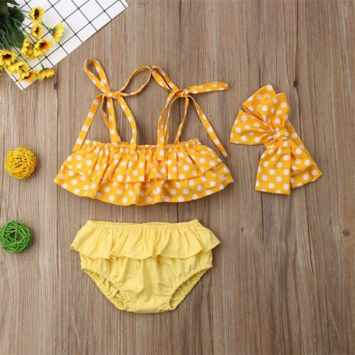 3Pcs Toddler Baby Girls Kids Swimsuit Swimwear Bathing Suit Tankini Bikini Sets High Quality Lovely Soft Hot Selling 2019 New