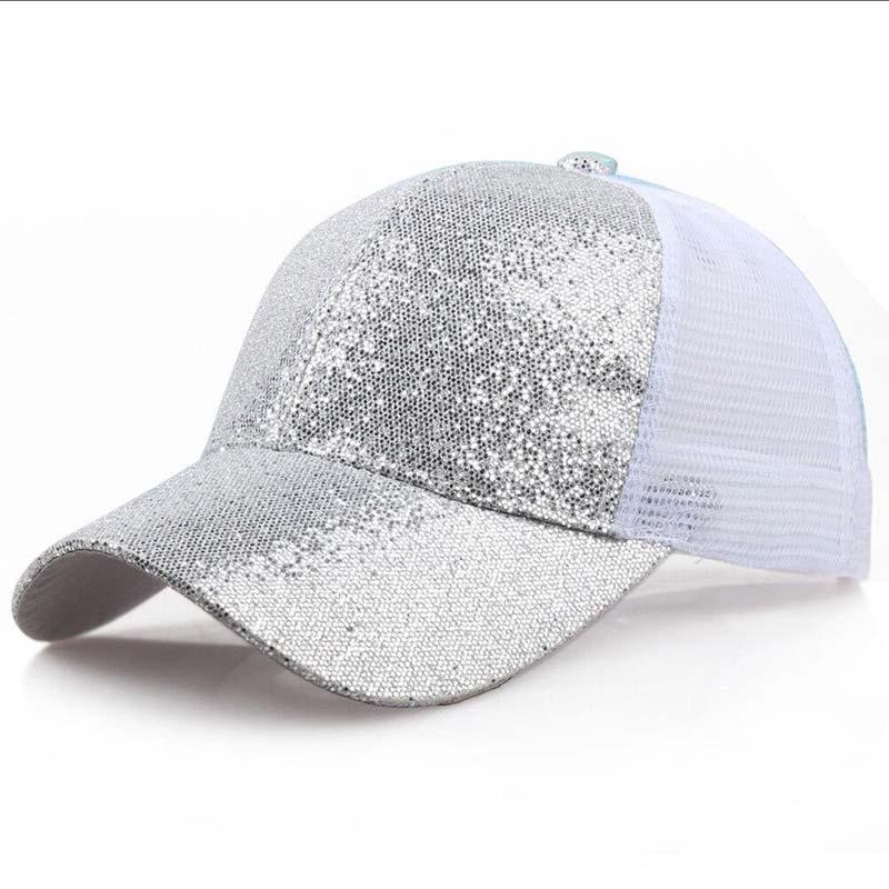 Женская бейсбольная кепка с хвостиком для девочек, летняя блестящая Кепка с блестящим блеском,, летние модные уличные спортивные солнцезащитные очки, головные уборы - Цвет: silver