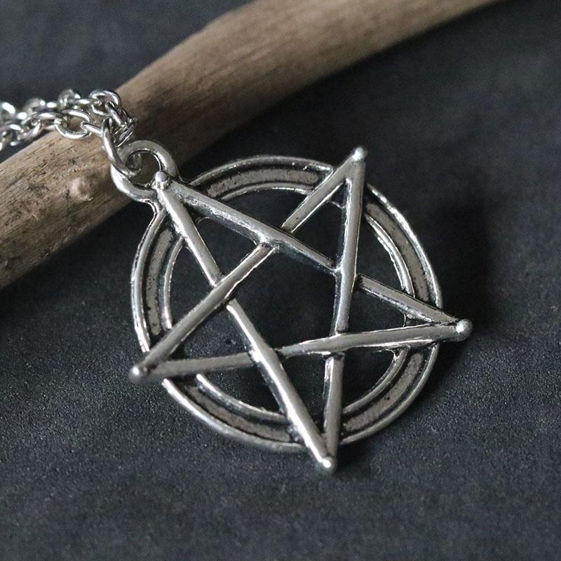 Supernatural Pentacle Necklaces Pentagram Pendant Statement Necklace Men Star Amulet Chain Talisman Necklaces Protection in Pendant Necklaces from Jewelry Accessories