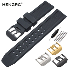 HENGRC Men Watch Band Black 23mm Sport Waterproof Silicone Silicone Rubber Strap Stainless Steel Metal Needle Buckle Accessories quality silicone watchband 23mm black sport style for mens replacement silicone watch bands with steel buckle