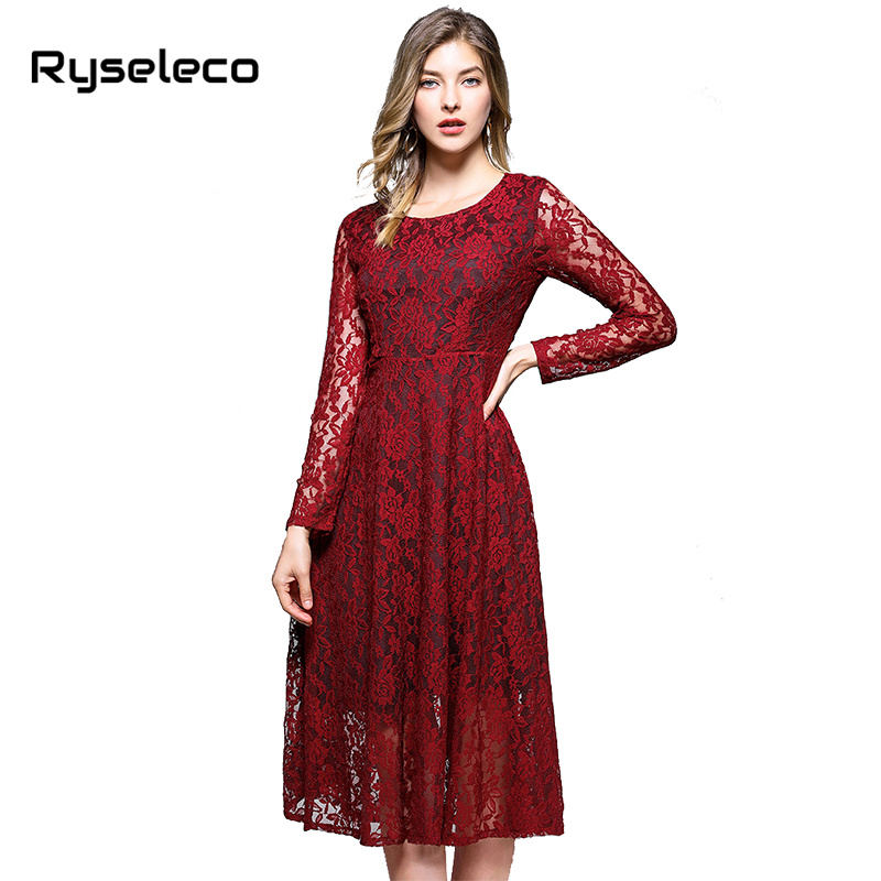 New Women Crochet Floral Full Lace Dresses Autumn Spring